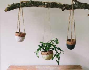 Ceramic Hanging Planter, Matte White Planter, Succulent Planter, Cactus Planter, Pottery, Boho Decor, Pottery Planter