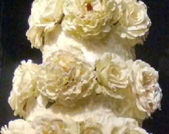 Wedding Cake Flowers set of 5 white or yellow carnations