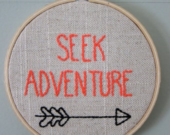 """Hand-Embroidered 4"""" Hoop Wall Art w/ """"Seek Adventure"""" Quote/Saying with Arrow on Tan/White Linen"""
