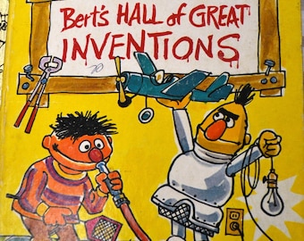Vintage  Little Golden Book  Bert's Hall of Great Inventions Sesame Street