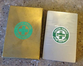 Vintage Green Cross Safety Playing Cards Card Deck Souvenir Sealed Unused