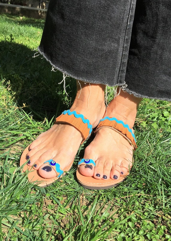 Handmade sandals sandals sandals Boho sandals Evil in Hippie Barefoot Egst Greek Greece sandals Summer leather Made Eye sandals pqtzAqHw