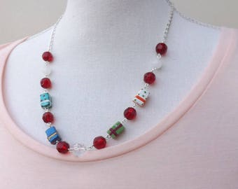 Christmas necklace, handmade beadchain, festive necklace, Christmas jewellery, ceramic necklace