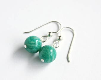 Russian Amazonite Earrings Sterling Silver Argentium Earwire Smooth Round Emerald Green Natural Stone Bright Green Minimal Earrings #17614