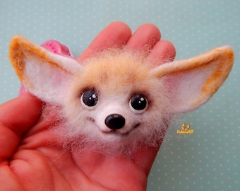 Needle felted brooch Fennec Fox Fox pin neddle felted brooch wool felt animals Felt Brooch Accessory Animal brooch jewelry gift for kids