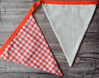 Orange Bunting/Orange Gingham Bunting /Orange Gingham Garland/Easter Bunting/Halloween Bunting/Country Kitchen/Autumn Bunting