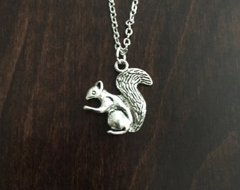 Silver Squirrel Necklace, Squirrel, Squirrel Necklace, Squirrel Jewelry, Squirrel Pendant, Silver Necklace, Silver Jewelry, Necklace
