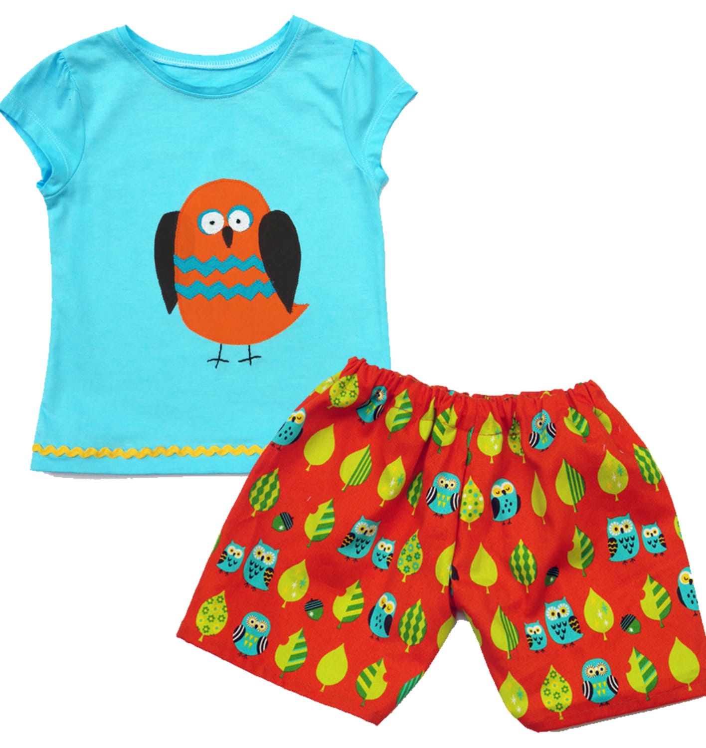 Kids Owl Shorts and Tee Shirt Boys Girls Baby Clothes