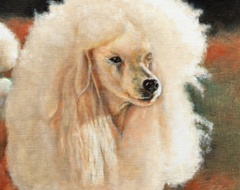 Original Oil Dog Portrait Painting WHITE POODLE Artwork Art from Artist Signed Puppy