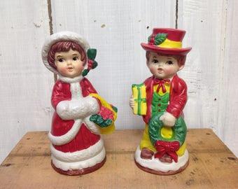Vintage Christmas Boy and Girl Banks