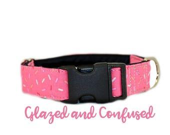 "Buckle Dog Collar: Pink Sprinkle Donut Print; Girl Collar; 1"",1.5"",2"" widths available; black satin lining; silver hardware; birthday"
