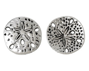 4 Antiqued Silver Carved and Hammered Sand Dollar Charms/Connectors