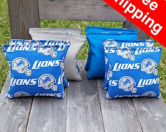 "FREE SHIPPING! Detroit Lions set of 8 corn hole bags, top notch quality: 6"" regulation size!"