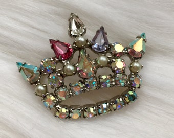 Vintage Crown Brooch Iridescent Aurora Borealis Rhinestone Brooch 1950s 1960s Jewelry Vintage Costume Jewelry
