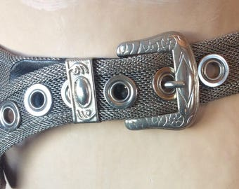 VINTAGE METAL BELT mesh, silver, buckle, 90s style fashion