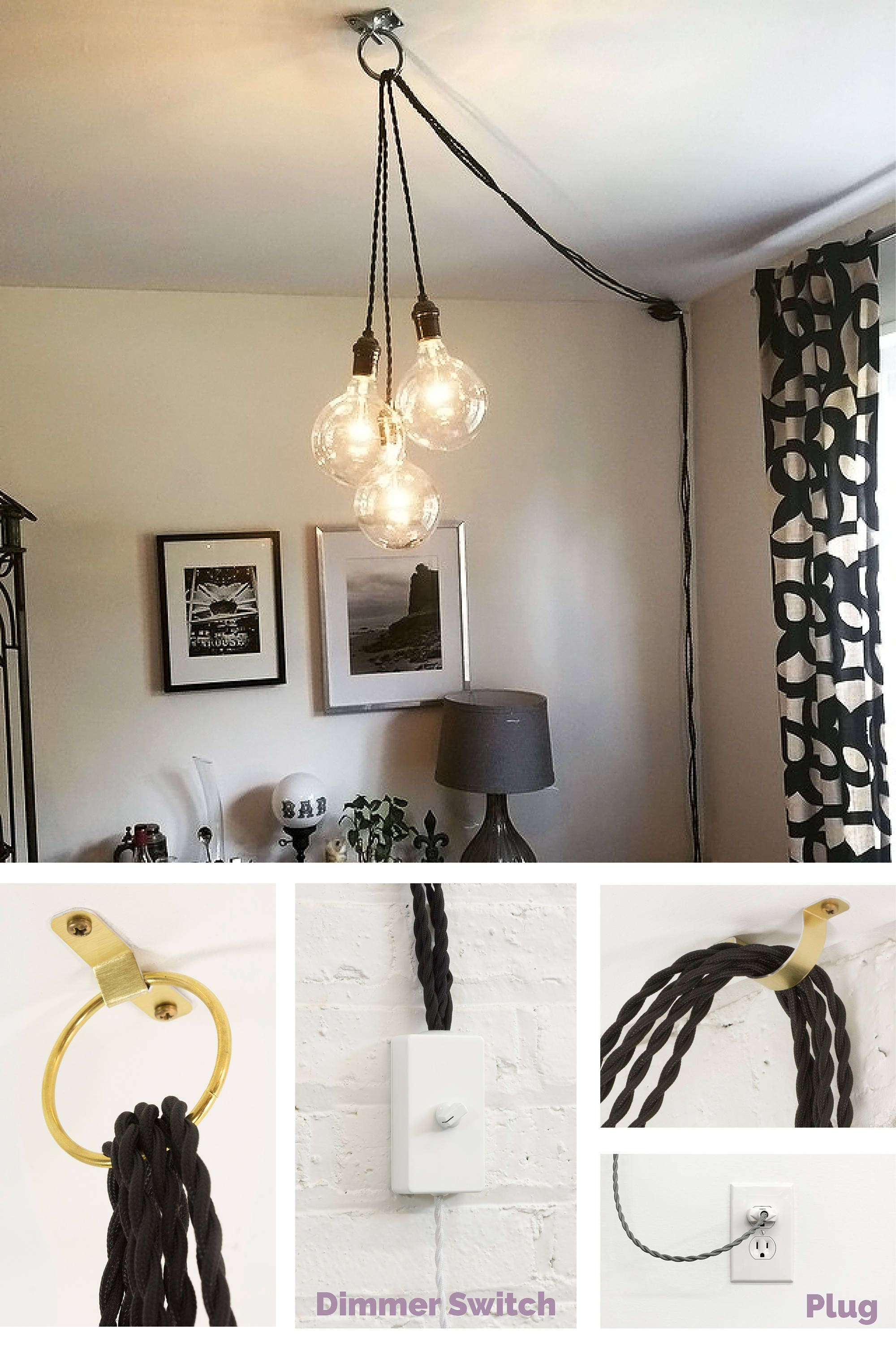 com clear black swag dp chandelier amazon leila plug in chandeliers
