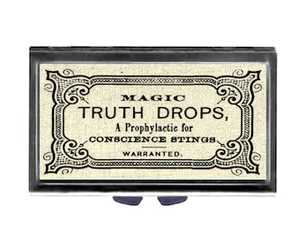 Pill Case with Mirror pill box 3 sections Magic Truth Drops prophylactic for Conscience Stings old funny ad Wife Gift