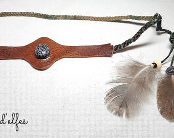 Leather and feather tiaras