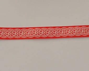5 m width 16mm pink/orange satin ribbon white lace design