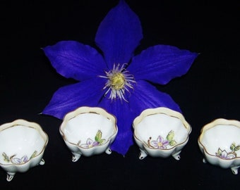 Vintage Handpainted Nippon China Footed Open Salt Cellar Dip Purple Flower