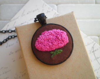 Pink Hydrangea Embroidered Necklace - Embroidery Flower Fiber Art Nature Necklace - Pink Floral Foliage Boho Jewelry Holiday Gift For Her