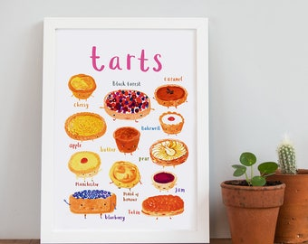 Tarts A4 Print - Bright Baking Print - Kitchen illustration - DP19A4