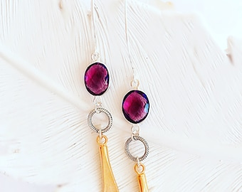 DALLIANCE Amethyst Shoulder Duster Earrings - Enchanted Dreams Collection
