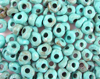36 Acrylic Turquoise Rondell Spacer Beads 18x15 mm