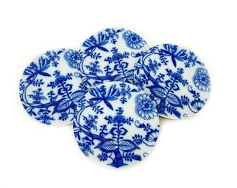 Blue Onion Coasters - Flow Blue Coaster Set - Vintage Style Drink Coasters - Blue and White Coasters - Cottage Decor - Mom Gift