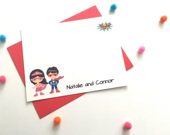 Personalized Twin Super Hero Stationery - Boy Girl Twins Superhero Note Cards - Thank You - Personalized - Super Hero Cape Mask DM193A
