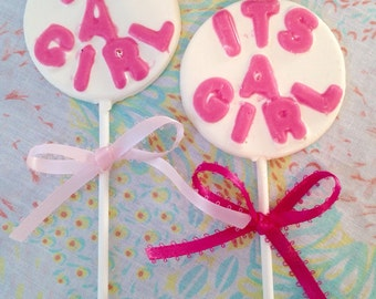 1 Dozen It's a Girl Chocolate Lollipops-Gender Reveal-Baby Shower favors-Pink Chocolate Candy-Dessert Table Treats