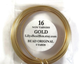 Gold Plated Wire, 16 Gauge Round Wire for Making Jewelry, Non Tarnish Wire, Wire Wrapping Supplies, 5 Yard Spool