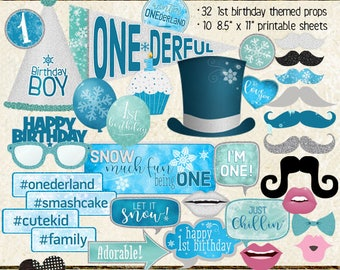 Photo Booth Props, WINTER ONEDERLAND, boy, 1st birthday, selfie station, blue, aqua, silver, printable, instant download