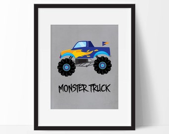 Monster Truck Print, Instant Download Monster Truck Decor, Truck Theme Room, Wall Art for Boys Room, Boy Room Decorations, Playroom Decor