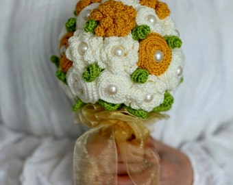 Wedding bouquet, Crochet Bridal Bouquet,  Eternal Bridal Bouquet, Wedding fabric bouquet, Yellow flower, Pearls flower bouquet