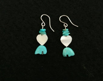 Vintage Turquoise and Mother of Pearl Drop Earrings