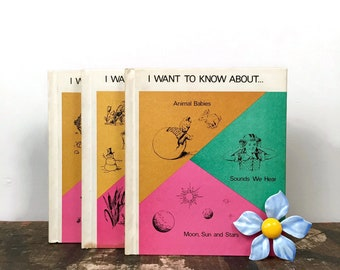 Vintage Set of 3 Children's Science Questions Educational I Want To Know About Books // Animal Sounds Space Eskimos Beach Seasons Habitats