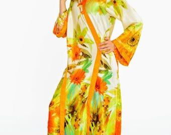 Robe, bridesmaid gift, floral robe, bridal silk kimono, getting ready robe, full length silk kimono