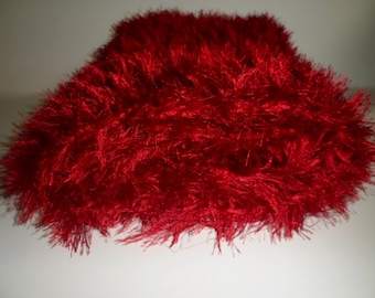 Ready to Ship Crochet Red Faux Fur Mini Mat Blanket Photo Prop, Newborn Baby Wrap