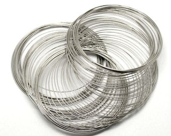 70-75MM Silver Tone Steel Memory Wire - 25/50 Loops