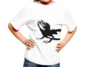 Kids Lizard T-Shirt / Childrens Iguana Reptile T Shirt in Pink, Grey, Light Blue, White, Orange / Ages: 3-4, 5-6, 7-8, 9-11, 12-13