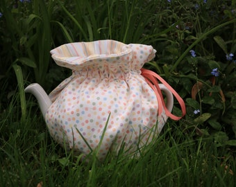 Pastel Dots and Stripes Wrap Tea Cozy, ready made