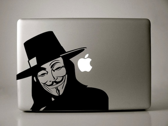 Items similar to guy fawkes v for vendetta macbook decal on etsy