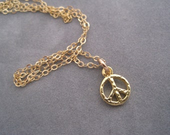 Peace Sign Charm - Gold Peace Sign Necklace - Tiny Peace Sign - Peace Charm - Charm Jewelry