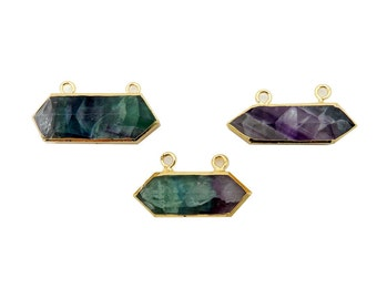 Rainbow Fluorite Sideways Double Terminated Point - Double Bail Pendant with Electroplated 24k Gold Edge (S93B13-11)