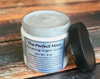 The Perfect Man Foaming Sugar Scrub / Men's Body Scrub / Foaming Sugar Scrub / Whipped Sugar Scrub/ Exfoliating Sugar Scrub