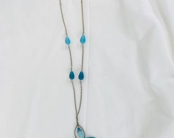 sky blue mixed metals and sea glass necklace