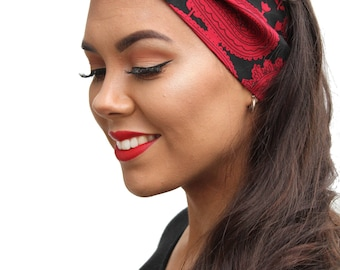 Red Paisley Land Girl Rockabilly Pinup 50s Style Head Scarf