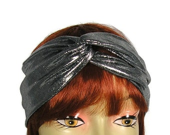 20's Head Wrap Flapper Headband Silver Retro Head Wrap 20's Silver Turban Headband Gatsby Headband Silver Turban Flapper Head Wrap Turban