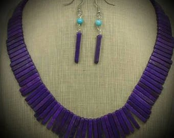 Purple Howlite Crystal Necklace and Earring Set 18""
